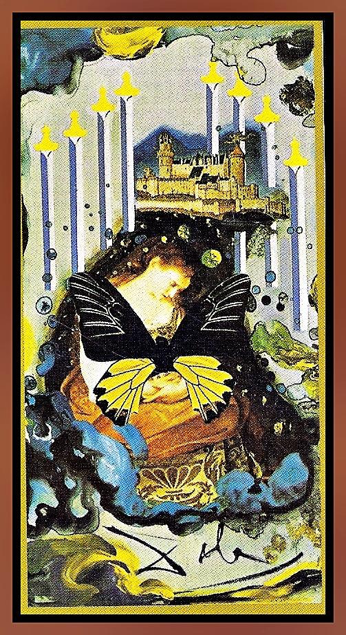 8 de espadas del Tarot de Dali Crítica y Fatalidad